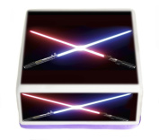 Star Wars The Force Awakens Lightsabers 19cm Inch Square Edible Pre Cut Cake Topper - Printed using Edible Inks on Premium Icing- With FREE Banner Included!