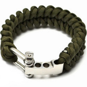 "Generic Outdoor Paracord Survival Bracelet with Adjustable Stainless Steel D Shackle,Fits 7""-8"" (18-20 cm) Wrists"