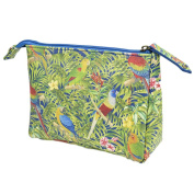 Volador Travel Wash Bag, Portable Travel Toiletry Wash Cosmetic Bag with Parrot Pattern and Durable Zipper