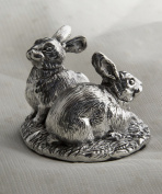 Silver rabbit ornament featuring two rabbits.Hallmarked. Made in England.
