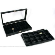 30 Pocket Watch Jewellery Display Tray & Glass Lid Case