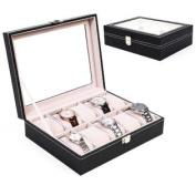 Goplus 10 Grids Slots Leather Jewellery Watch Display Case Box Storage Holder Organiser