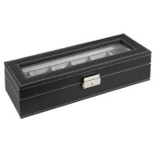 Watch Box Large 6 Mens Black Leather Display Glass Top Jewellery Case Organiser