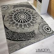 Vimoda Tibet6447 Classic Living Room Rug Tightly Woven Medallion Pattern Melliert, Grey/Black, grey/black, 80 x 300 cm