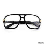 Epic Eyewear Run DMC-Style Square Frame Plastic Clear Lens Aviator Glasses