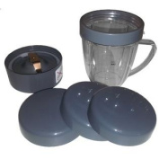 Nutribullet Cup & Blade Replacement Pack - 5pc. Includes Handled Short Cup with Lip Ring & Milling Blade & Two Stay Fres