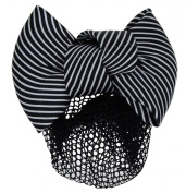 12cm Women Bun Cover Net Snood Bowknot Decor Barrette Hair Clip