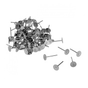 VALYRIA 100pcs Stainless Steel Silver Flat Pad Post Earring Finding 12mmx5mm