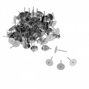 VALYRIA 100pcs Stainless Steel Silver Flat Pad Post Earring Finding 12mmx8mm