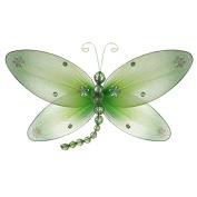 The Butterfly Grove Taylor Dragonfly Decoration 3D Hanging Mesh Organza Nylon Decor, Green Honeydew, Medium, 25cm x 15cm