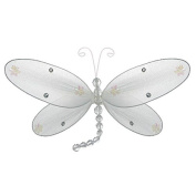 The Butterfly Grove Taylor Dragonfly Decoration 3D Hanging Mesh Organza Nylon Decor, Plumeria White, Medium, 25cm x 15cm