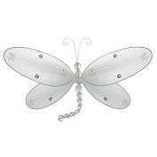 The Butterfly Grove Taylor Dragonfly Decoration 3D Hanging Mesh Organza Nylon Decor, Plumeria White, Medium, 25cm x 15cm