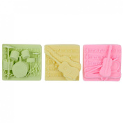 Lily's Home Shea Butter Enriched Scented Guest Soap Gift Set - Includes Three Soap Bars with Designs of Guitar, Bass and Drums