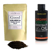 THE BEST OF DIY SET Coffee Body Scrub With Organic Herbs Are Great Body Scrubs for Reducing Cellulite and Stretch Marks 100ml & Coconut Oil Virgin Organic 100% (FOOD GRADE) 120ml