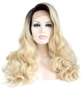 Aurica Fashion Bodywave Brown Roots Blonde Ombre Heat Safe Synthetic Hair Lace Front Wig