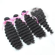 Iloveihair Virgin Malaysian Hair 3 Bundles + 1pcs 10cm x 10cm Lace Top Closures Deep Wave 25cm --60cm Natural Black