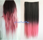 Natural Black to Pink Two Colours Ombre Synthetic Hair Extension, Synthetic Clip in Hair extensions UF317