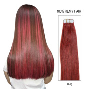 Beauty on Line Tape in Human Hair Extensions 100% Remy Hair 20inch/50cm long, 25g/pk of 10pcs Full Head Burg Colour