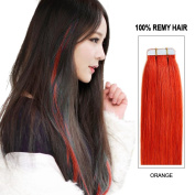 Beauty on Line Tape in Human Hair Extensions 100% Remy Hair 20inch/50cm long, 25g/pk of 10pcs Full Head Orange Colour