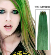 Beauty on Line Tape in Human Hair Extensions 100% Remy Hair 20inch/50cm long, 25g/pk of 10pcs Full Head Green Colour