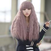 Yontree 70cm Fashion Long Wavy Curly Wigs Party Hair Cosplay Wigs Taro Milk