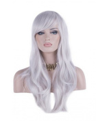 Women 70cm Long Heat Resistant Wavy Hair Cosplay/daily Wig(silver)