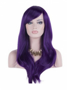 Women 70cm Long Heat Resistant Wavy Hair Cosplay/daily Wig(purple)
