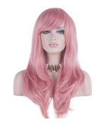 Women 70cm Long Heat Resistant Wavy Hair Cosplay/daily Wig(pink)