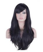 Women 70cm Long Heat Resistant Wavy Hair Cosplay/daily Wig(black)