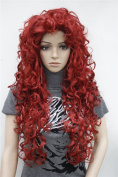 Kalyss Women's Long Curly High Heat Resistant Synthetic Red Hair Wig