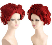 Coslive Alice In Wonderland Film Red Queen Curly Wavy Full Cosplay Wig Halloween