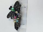 Dragonfly Crystal with Black Metal Barrette 6 Colour 12 Pieces
