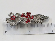 Crystal with Silver Metal Barrette 6 Colour 12 Pieces