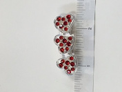 Crystal with Silver Metal Three Little Heart Barrette 6 Colour 12 Pieces