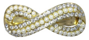 Rhinestone and Pearl Hair Barrette by Crystal Avenue | Elegant Figure 8 Infinity Design | Gold | Comes in a Gold Gift Box