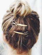 Leiothrix Hot Alloy Golden Scissor Hair Clips for Women and Girls Apply to Any Occasion