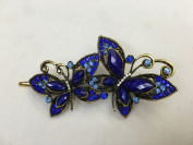 Gorgeous Fashion Jewellery Crystal Rhinestones Two Butterfly Design Hair Clips Hair Pins Hair Sticks - Large Size - Sapphire Blue Colour -For Hair Beauty Tools