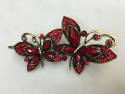 Gorgeous Fashion Jewellery Crystal Rhinestones Two Butterfly Design Hair Clips Hair Pins Hair Sticks - Large Size - Ruby Colour -For Hair Beauty Tools