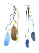 2 Piece Set of Beaded Feather Extension Hair Clips