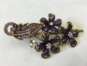Gorgeous Fashion Jewellery Crystal Rhinestones Flower Design Hair Clips Hair Pins Hair Sticks - Large Size - Amethyst -For Hair Beauty Tools