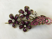 Gorgeous Fashion Jewellery Crystal Rhinestones Flower Design Hair Clips Hair Pins Hair Sticks - Large Size - Mauve -For Hair Beauty Tools