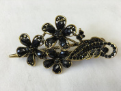 Gorgeous Fashion Jewellery Crystal Rhinestones Flower Design Hair Clips Hair Pins Hair Sticks - Large Size - Onyx Black - For Hair Beauty Tools