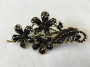 Gorgeous Fashion Jewellery Crystal Rhinestones Flower Design Hair Clips Hair Pins Hair Sticks - Large Size - Onyx Black - For Hair Beauty Tools