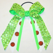 Basketball Soft Touch Sequin Hair Bow, Avail in many colours, Black Pony Band, Made in the USA
