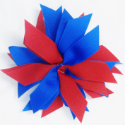 Pom Hair Bow, Red and Royal, White Pony Band, Made in the USA