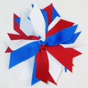 Pom Hair Bow, Red, Royal, & White, White Pony Band, Made in the USA