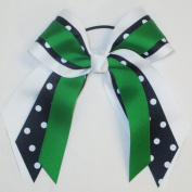 Small Multi Layer Bow with Print, White, Dark Navy Polka Dot, Kelly, Made in the USA