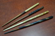 4 Pcs Assort Carved Buffalo Bone Wood Hair Stick Pins