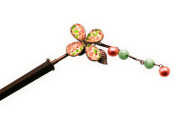 Tamarusan Pink Rose Pattern Hair Stick Pin Hand Made Wood Stick Detachable Charm Nickel Free Luxury Antique Look Fresh Water Pearl,jade