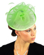 NYFASHION101 Cocktail Fashion Sinamay Fascinator Hair Clip Design & Mesh - Lime